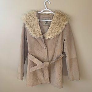 Fur Trim Faux Leather Jacket